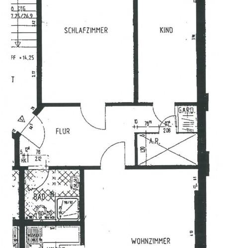 Grundriss 3-R-Wohnung im 4.OG