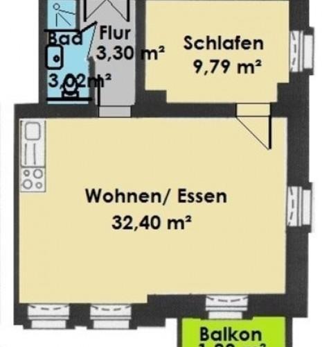 Grundriss 2-R-Wohnung im 1.OG