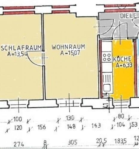 Grundriss 2-R-Wohnung im 2.OG